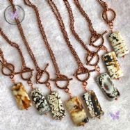 Leopard Agate Rectangle Pendant with Chain & Toggle Clasp